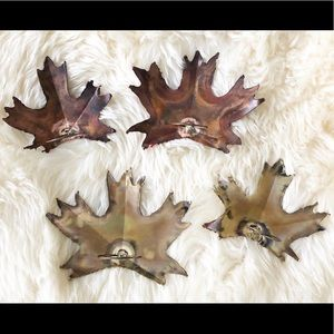 Metal Leaf Napkin Ring Set Of 4 Thanksgiving Table